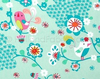 Cotton fabric, retro fabric, kids fabric, floral fabric, blue fabric, green fabric, bird fabric, Spring Park in Minty Turquoise