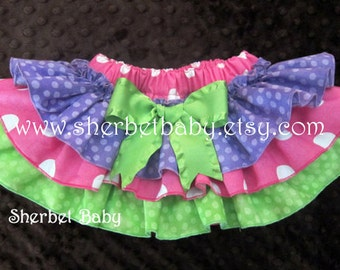 Sassy Pants Ruffled Diaper Cover Bloomer Purple Fuchsia Hot Pink Green Polka Dots