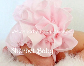 Pink Ruffled Bloomer Sassy Pants Diaper Cover with Bow