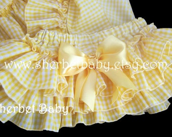 Yellow Gingham Classic Style Sassy Pants Ruffle Diaper Cover Bloomers with Bow