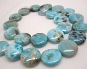 Larimar, Larimar Beads, Luxe AAA, 18mm, Smooth Coin Shape, Aqua Color Gemstone, SKU 4373A