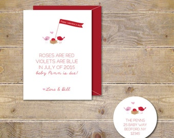 Valentine's Day Cards . Pregnancy Announcement Cards . Expecting Baby Cards . Pregnancy Announcement  - Roses Are Red