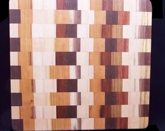 Mixed Woods Edge Grain Cutting Board Kitchen Decoration -10 - In Stock Ready To Ship