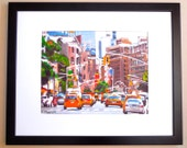 New York Art Framed NYC Cabs, Large 16x20 frame, 11x14 Print of Original Painting by Gwen Meyerson