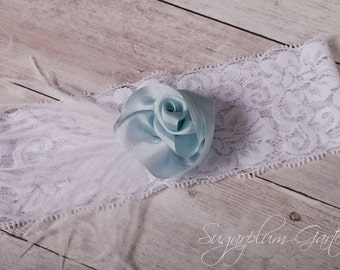 Wedding Garter in Pale Blue Silk & White Lace with Ostrich Feathers