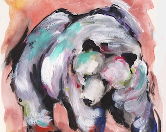 White Bear, grizzly bear painting, grizzly bear print, colorful bear painting, bear statement painting, mountain bear print, brown bear