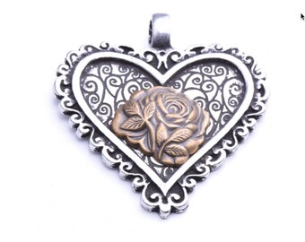 Scroll Heart With Gold Rose, ea