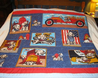 Handmade Baby Dalmations And Fire Truck Cotton Baby/Toddler Quilt - Newly Made2016