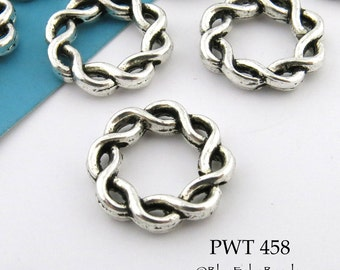 15mm Large Hole Beads Pewter Twisted Ring, Bead Frame,  Antique Silver (PWT 458) 15 pcs BlueechoBeads
