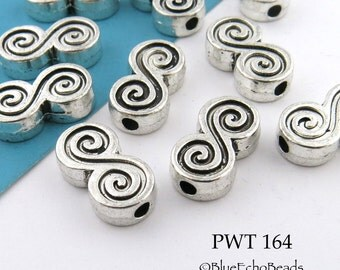 15mm Thick Double Spiral Pewter Beads Antique Silver (PWT 164) BlueEchoBeads 6 pcs