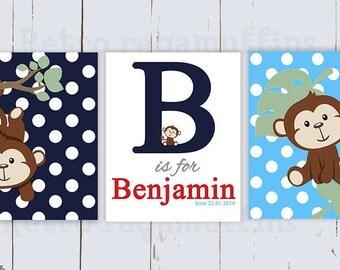 Monkey Nursery Art  Print Various Sizes Personalized Boys Room Decor
