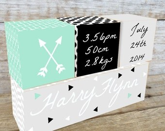 Personalized Wooden Name Birth Blocks Custom Made Arrow Design