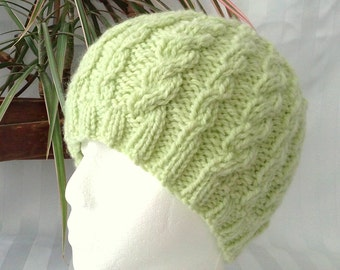Kiwi Green Wool/Acrylic Cable Beanie. Ready to Ship. Mint Green. Cable Beanies for Women. Knit Hat. Womens Hats. Joyful HandKnits.