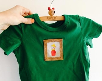 Cute 100% Cotton,  S/S Green Tee with Applique Vintage Fisher Price Clown,  SIZE 1 1/2 - 2