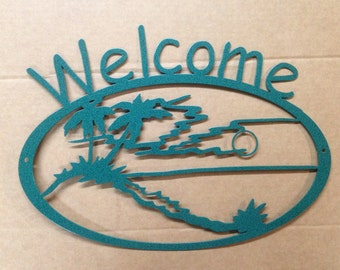 Welcome Sign Beach and Palm Trees  (F24)