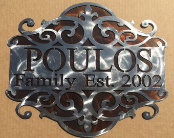 Personalized Sign with Scroll Design and Backing Plate (j29)