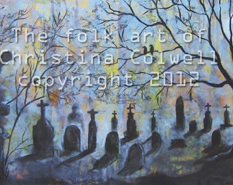 "Graveyard Ghost Instant Download 6"" X 12"" and 10"" X 20"" printable art from original mixed media contemporary raw folk art"
