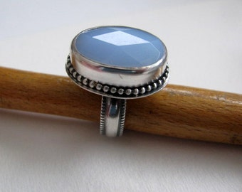 Blue Chalcedony and Sterling Silver Ring, Soft Blue Gemstone Ring Size 7.5, Handmade Metalwork