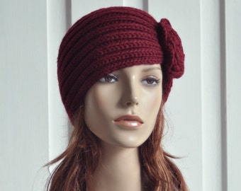 Sale - Hand Knit Hat Wool  Beret Hat with crochet flower in Burgundy -ready to ship
