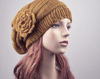 hand knit Oversized  Beret Hat with crochet flower in Mustard - ready to ship