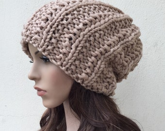Hand Knit Chunky hat woman hat Wheat