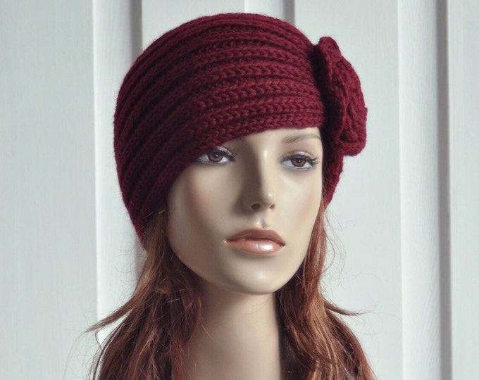 Hand Knit Hat Wool  Beret Hat with crochet flower in Burgundy -ready to ship
