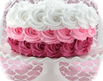 Fake Rosette Cake with Hot Pink, Bubblegum Pink and White Roses. Smash Cake Prop, Birthday Decor. Photo Props & First Birthday