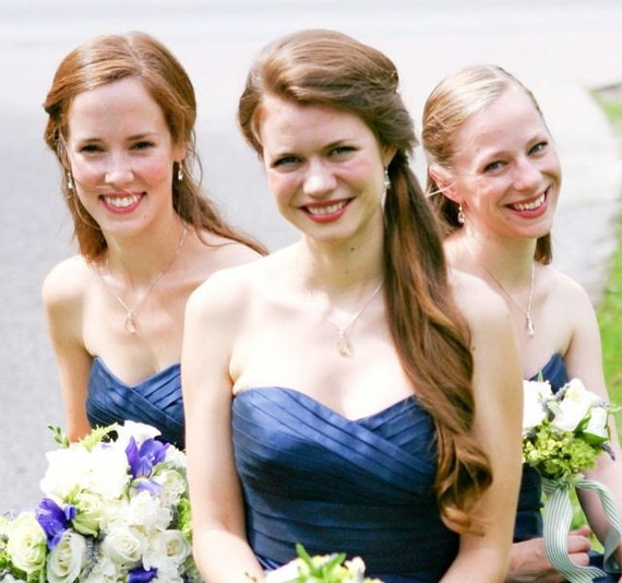 Bridesmaid jewelry set - crystal clear teardrop and fresh water pearl necklace and earring