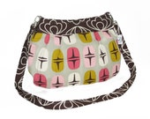 Organic Handmade Little Sophisticate Cross Body Sling Purse - Brown Blossom with Retro Stars - Free Shipping