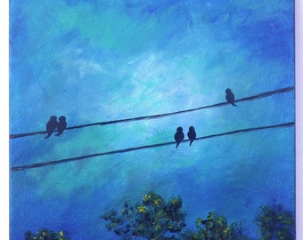 Bird on a wire painting, deep cobalt blue and turquoise toned sky, with resting birds. 12x12 square painting.