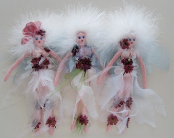 FAERIE ORNIES On Sale , set of 3 fairy soft sculpture dolls, stocking stuffer, Christmas ornaments