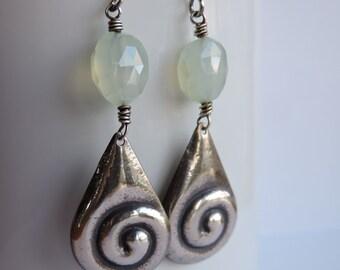Sterling Silver Swirly Teardrop and Faceted Seafoam Chalcedony Earrings