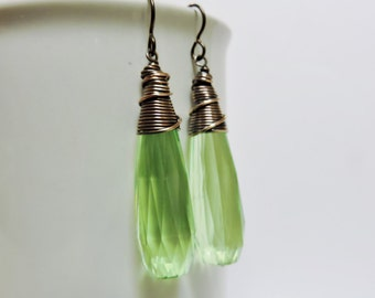 Vintage Key Lime Green Faceted Long Acrylic Drops
