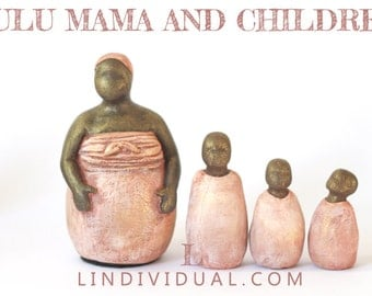 Africa Zulu Mama and Children - Fertility Goddess Statue Doula Midwife Figurine Sculpture Buddhist Altar Birth Art African art