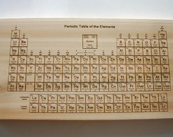 Periodic Table of Elements Engraved Cedar Sign Laser Engraved Wood Sign Science Chemistry