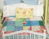 Bedding Only-Farmhouse Miniature Quilt -1:12 scale