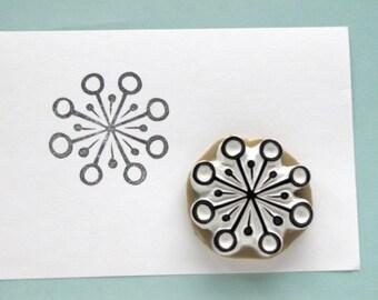 Medium Snowflake geometric retro vintage design circles floral stamp