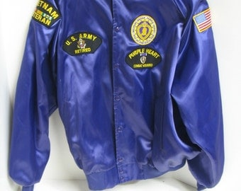 Vintage Military Army Order Purple Heart VietNam Veteran Retired Service Souvenir Jacket 2XL