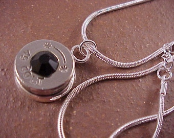 45 Colt Necklace Bullet Pendant with Swarovski Crystal - Free Shipping in US