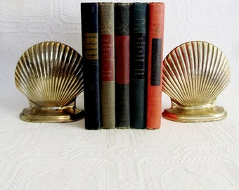 Brass  Bookends  Sea Shell Scallop Beach House Decor Shells Library