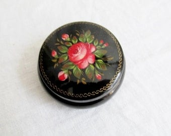 Hand Painted Black Lacquer Ware Round Metal Trinket Jewelry Powder Dresser Box