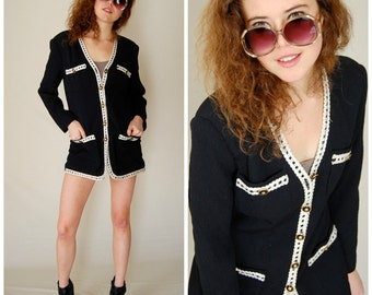 Little Black Jacket Vintage 80s Black Retro Urban Glam Boho Indie Draped Blazer Jacket (s m)