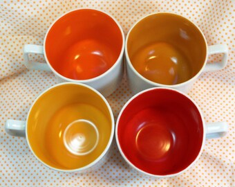 SALE Set of 4 Vintage Porcelain Footed Coffee Cups