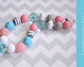 Chunky necklace { Pink Marshmallow } pink, gray and blue, Spring Easter Necklace, First Birthday, Cake Smash, Wedding photography prop