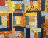 Modern Orange, Gray and Gold Quilt RESERVED for mama2honu