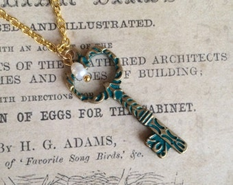 Gold and Patina Skeleton Key Necklace with Freshwater Pearl