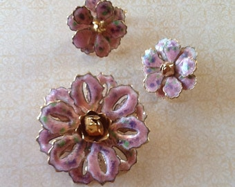 Vintage Pink Enamel Demi Parure Earring and Brooch Pin 1960s cottage chic hand painted