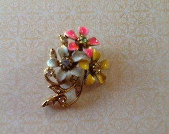 Vintage Enamel and Rhinestone Pastel Flower Blossom Brooch cottage or shabby chic jewelry