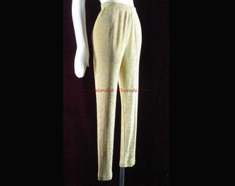 Vintage 1980s Metallic Gold Lurex Pants Tapered Leg High Waist Pants Dance Party S b75