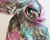 Hand Painted Silk Scarf - Handpainted Scarves Black Turquoise Blue Gray Grey Charcoal Pink Magenta Rose Mauve Teal